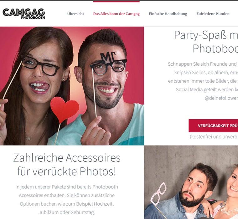 Capture d'écran de la page d'atterrissage Camgag réalisée par WebSEO, pour illustrer le ton narratif ludique qui incite le client à la prise de contact.