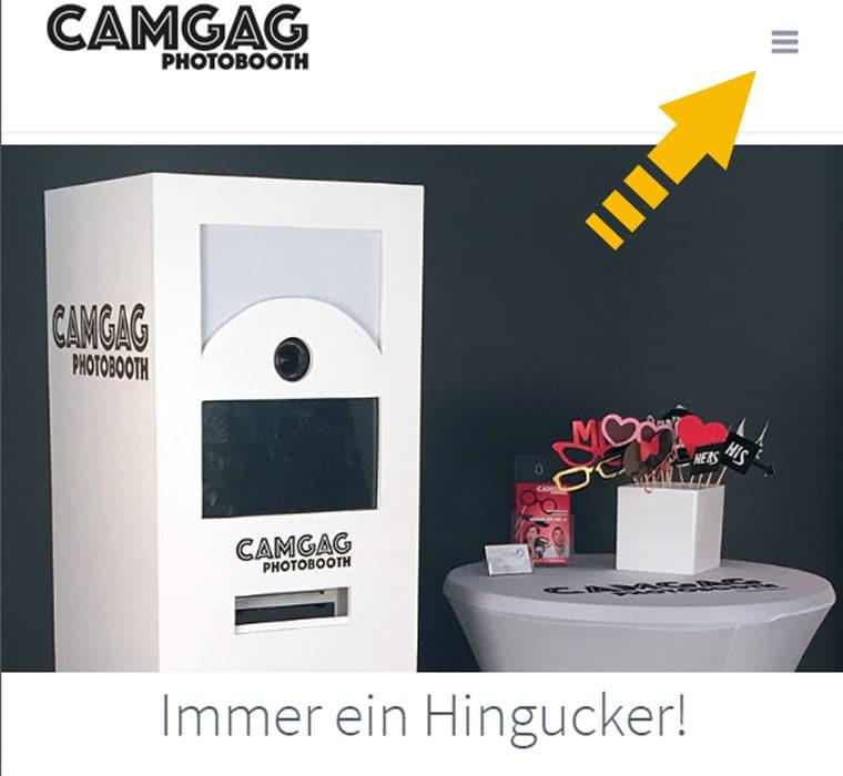 Capture d'écran du site Internet réalisé pour Camgag, pour illuster la navigation adaptative pour téléphones mobiles et GSM