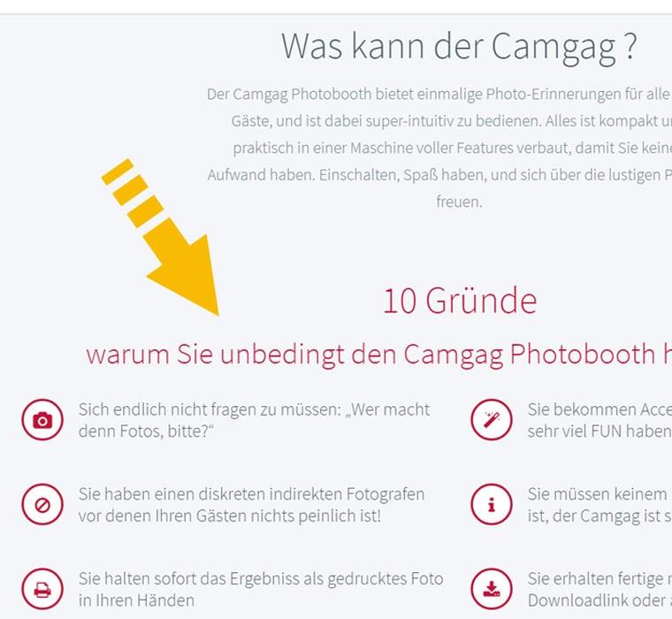 Extrait du site web réalisé pour Camgag Trier, illustrant l'utilisation de listes top 10 animéees pour présenter des arguments de vente aux clients.